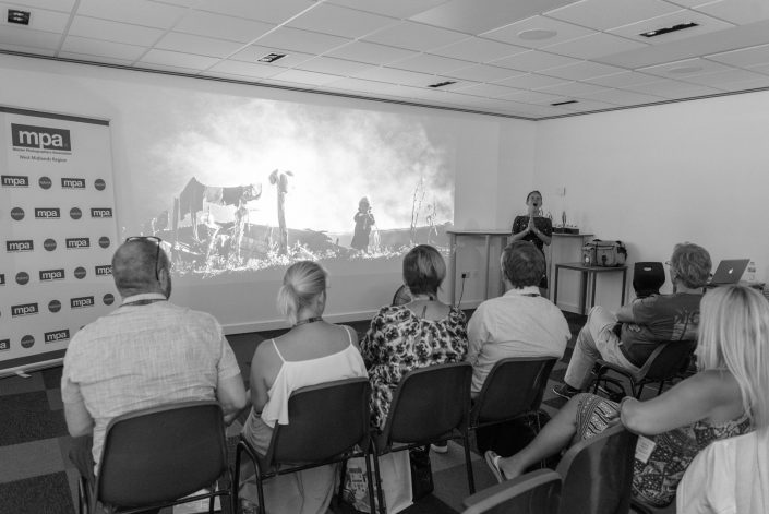 Saraya Cortaville delivering her talk on her travel adventures at the MPA West Midlands Regional Print Competition and Presidential Visit held at Warwickshire College, July 2018. Sponsored by Alex Ingram Digitalab and PermaJet — with Mike Baker and Karen Massey at Warwickshire College.