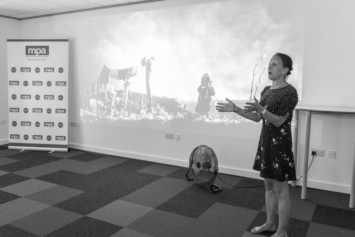 Saraya Cortaville delivering her talk on her travel adventures at the MPA West Midlands Regional Print Competition and Presidential Visit held at Warwickshire College, July 2018. Sponsored by digitalab and PermaJet — with Mike Baker and Karen Massey at Warwickshire College.